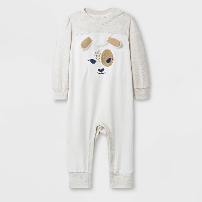 Baby Boys' Long Sleeve Critter Romper - Cat & Jack™ Beige 0-3M
