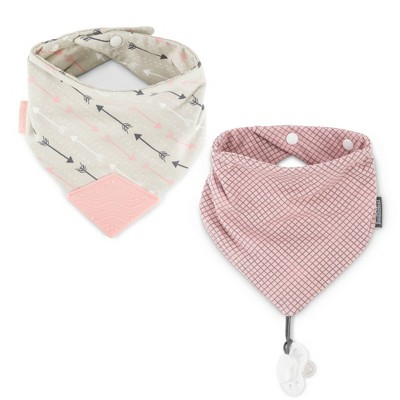 BooginHead Teether & Pacigrip Bib - Pink Arrows 2pk