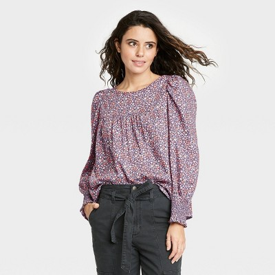 Women's Floral Print Balloon Long Sleeve Blouse - Universal Thread™