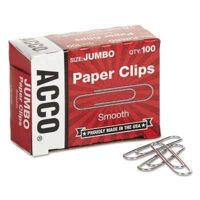 ACCO Smooth Standard Paper Clip Jumbo Silver 100/Box 10 Boxes/Pack 72580
