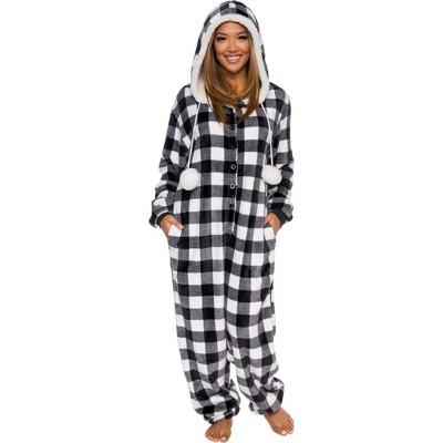 Silver Lilly Slim Fit Women's Buffalo Plaid One Piece Pajama Union Suit