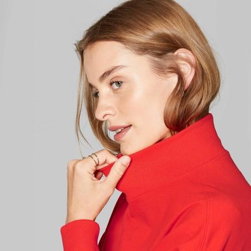 Women's Mock Turtle Neck Oversized Sweatshirt - Wild Fable™ Company Red - image 1 of 3