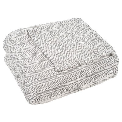 Chevron Cotton Blanket (Full/Queen)Charcoal Heather - Yorkshire Home®