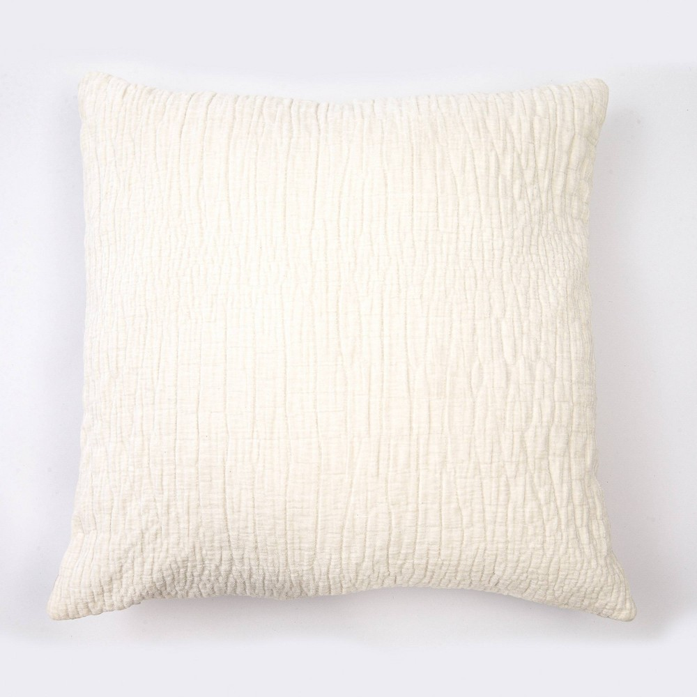 "Image of ""20""""x20"""" Textured Washed Chenille Woven Throw Pillow White - Evergrace"""