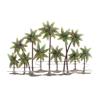 "25"" x 38"" Coastal Iron Standing Fern Palms Wall Sculpture - Olivia & May"