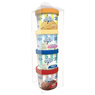 Pooch Creamery Ice Cream Mix Peanut Butter Dog Treats Assorted Gift Pack - 4ct