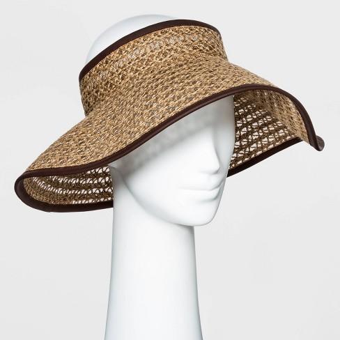 Women's Packable Braided Jute Visor Hat - Universal Thread™  Brown - image 1 of 1