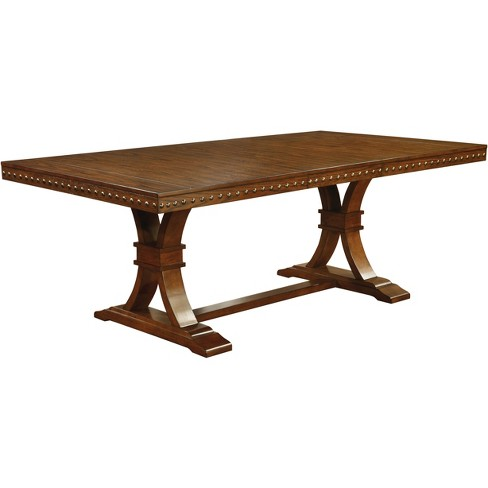 Sun & Pine Nail head Trimmed Double Pedestal Dining Table Wood/Dark Oak - image 1 of 3