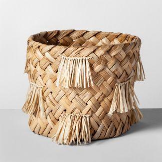 "10.5"" x 9.5"" Water Hyacinth Fringe Basket Natural - Opalhouse™"