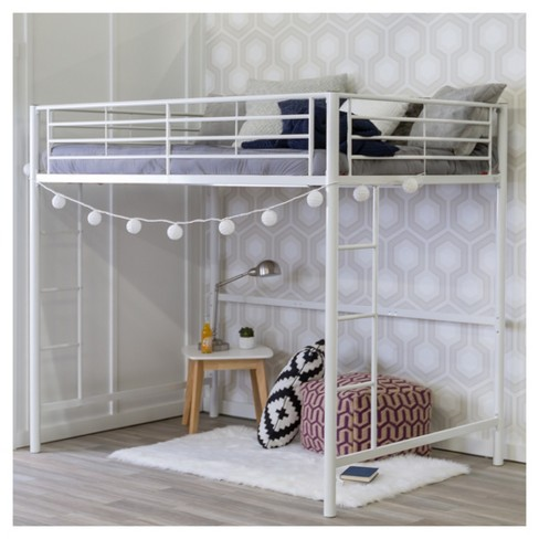 686319d0ce46 Premium Metal Full Size Loft Bed - White - Saracina Home   Target