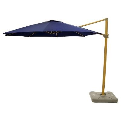 Perfect Sunbrella 11u0027 Round Offset Patio Umbrella With Base   Light Faux Wood Pole    Smith U0026 Hawken™