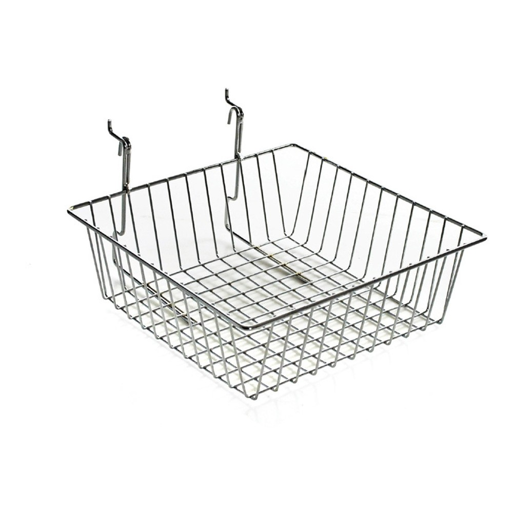 Azar 4.25 Chrome Wire Basket 2ct, Clear