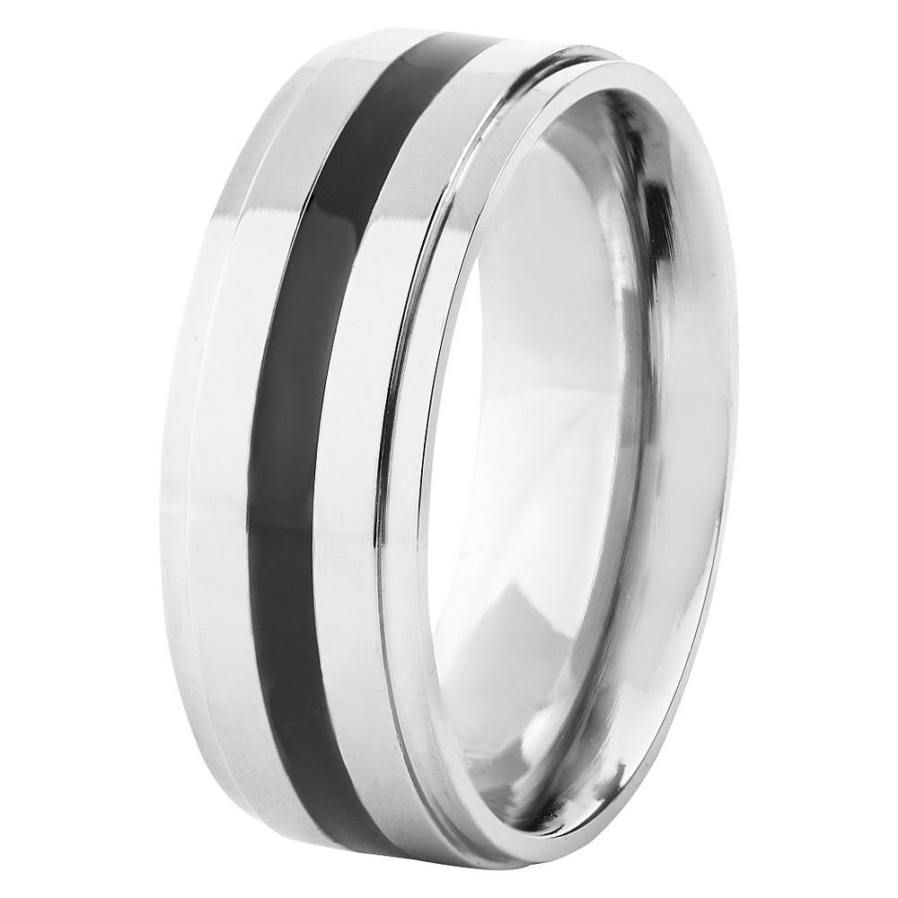 Men's Titanium Polished Resin Ring - Black (8mm), Size: 7, Silver