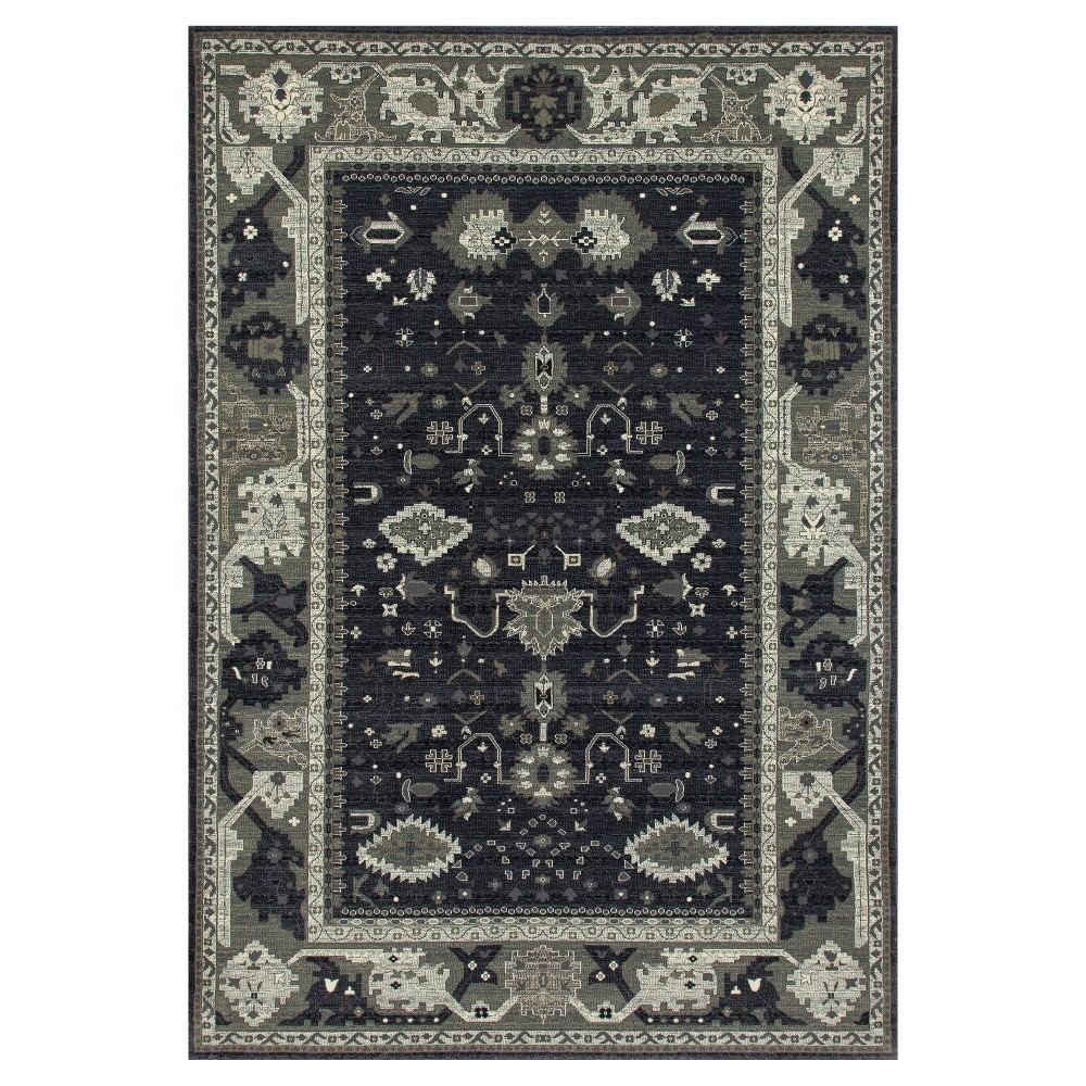 Gray Abstract Woven Round Area Rug - (7'x10') - Art Carpet