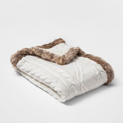 Chenille Cable Knit With Faux Fur Trim Throw Blanket Cream - Threshold™