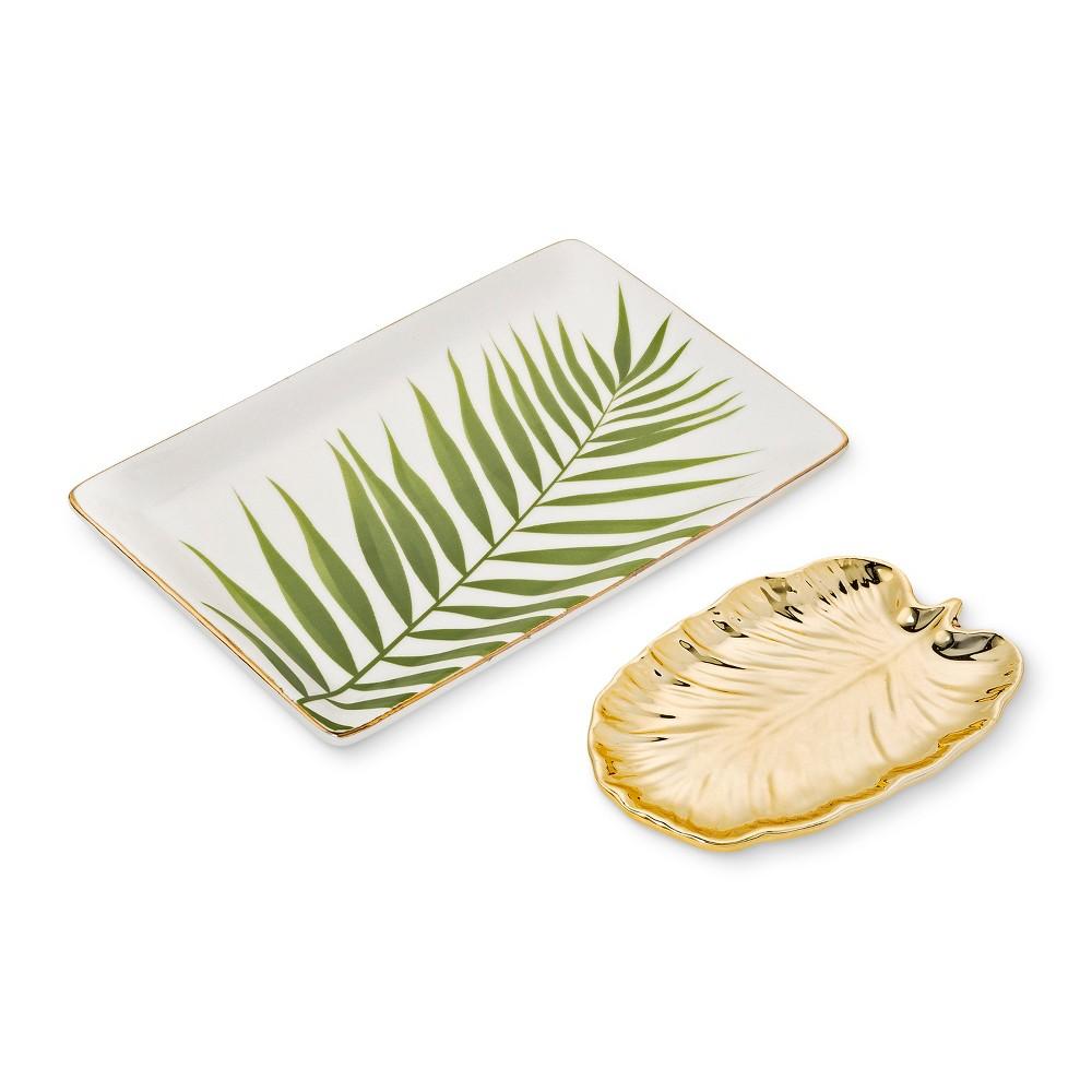 2pk Leaf Trinket Dish Set Gold - West Emory