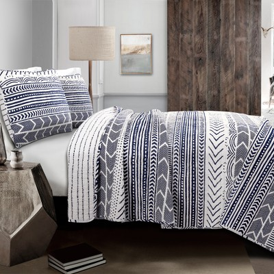 3pc Full/Queen Hygge Geo Quilt Set Navy/White - Lush Décor