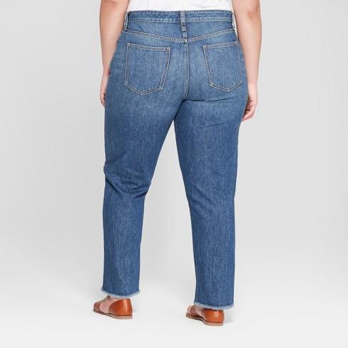 7bcde08460 Women s Plus Size Fray Hem Straight Jeans - Universal Thread™ Dark Wash
