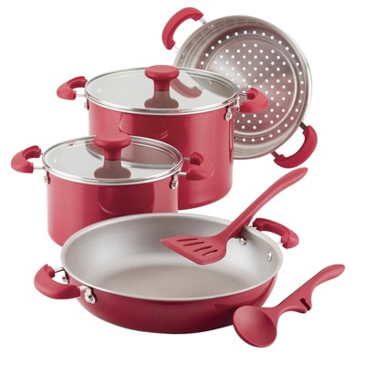 Rachael Ray Create Delicious 8pc Aluminum Nonstick Cookware Stacking Set Red