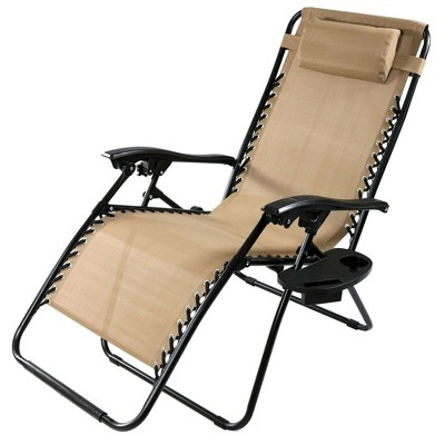 Oversized Zero Gravity Lounge Chair With Pillow And Cup Holder   Single    Khaki   Sunnydaze Decor