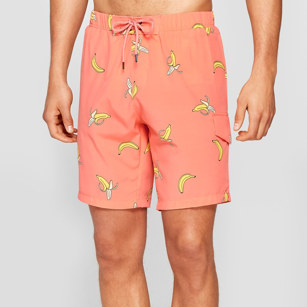 Men's 7.5 No Retreat Swim Trunks - Hot Coral Yellow Cream XL, Orange Off-White Yellow
