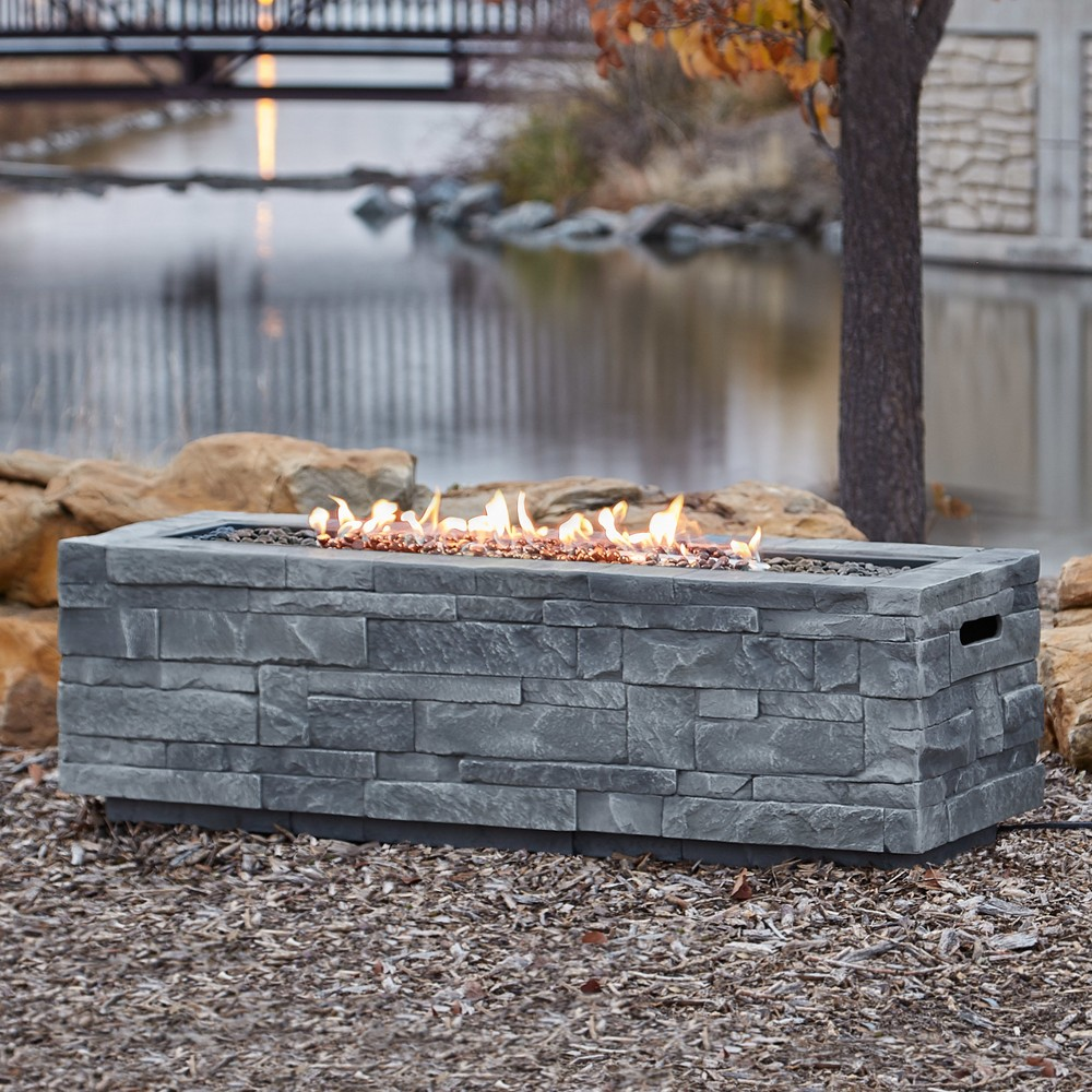 48x15 Ledgestone Rectangle Fire Table with Natural Gas Kit Gray - Real Flame
