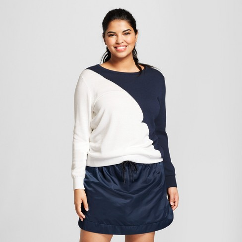 Hunter for Target Women's Plus Size Colorblock Lightweight Sweater - Navy - image 1 of 6