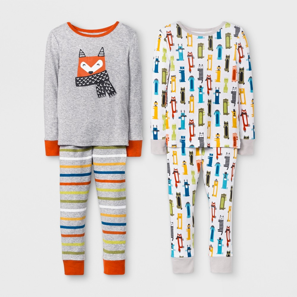 Toddler Boys' Fox 4pc Pajama Set - Cat & Jack Orange 5T, Gray