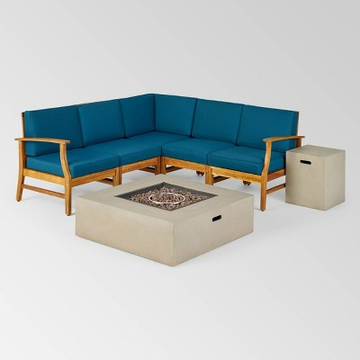 Illona 7pc Acacia Wood V-Shaped Sofa Set with Fire Table - Teak/Blue/Light Gray - Christopher Knight Home