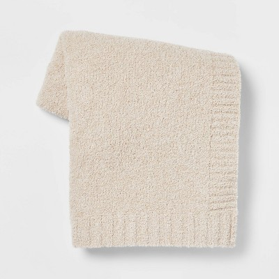 Cozy Knit Heathered Throw Blanket Neutral - Threshold™