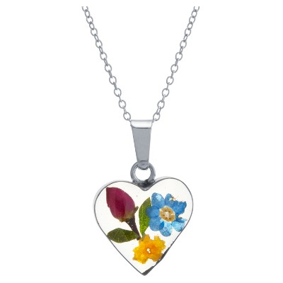 """Women's Sterling Silver Pressed Flowers Small Heart Pendant (18"""")"""