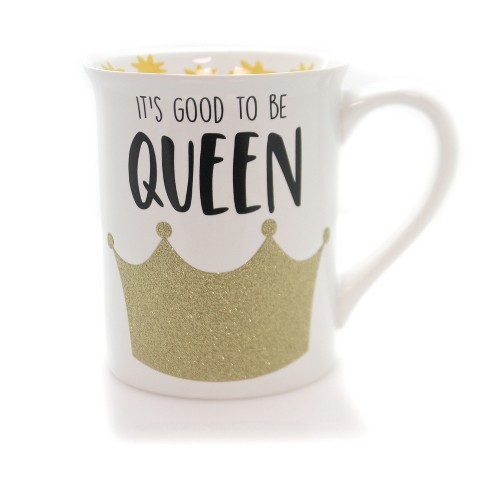 "Enesco 4.5"" Good To Be Queen Glitter Mug Our Name Is Mud - image 1 of 2"