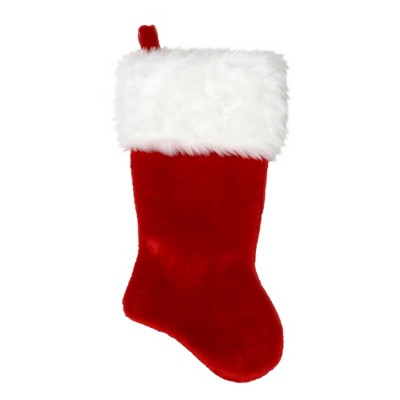 "Northlight 20"" Red and White Plush Traditional Christmas Stocking with Cuff"