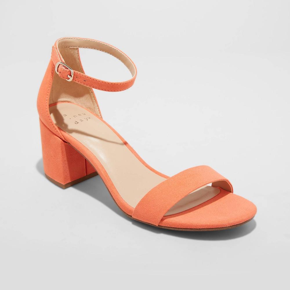Women 39 S Michaela Wide Width Sandal Pumps A New Day 8482 Orange 9 5w