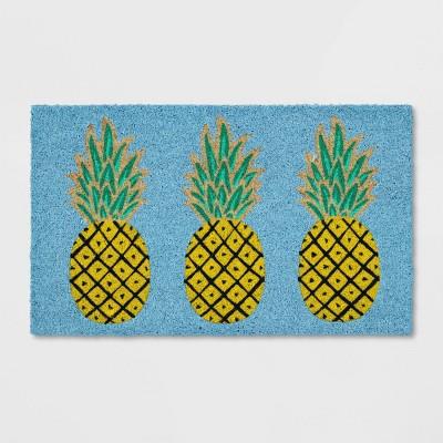 "1'6""x2'6"" Pineapple Coir Doormat Rug Blue - Sun Squad™"