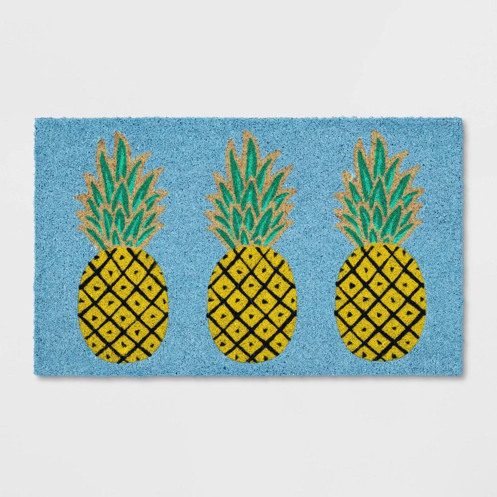 Pineapple Coir Doormat Rug Blue