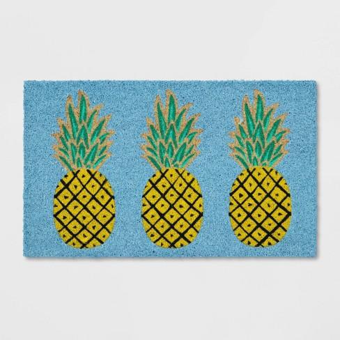 "1'6""x2'6"" Pineapple Coir Doormat Rug Blue - Sun Squad™ - image 1 of 3"