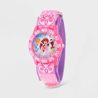 Girls' Disney Princess Plastic Time Teacher Nylon Strap Watch - Pink