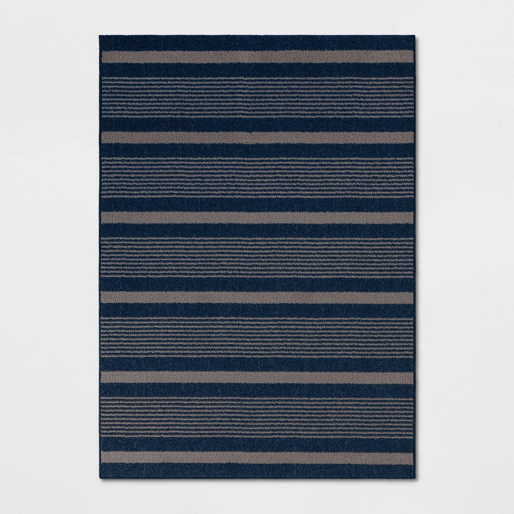 5'X7' Indoor/Outdoor Stripe Tufted Novelty Area Rug Navy (Blue) - Threshold