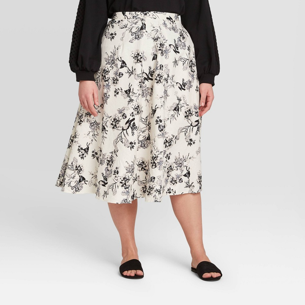 Women's Plus Size Floral Print Circle Midi Skirt - Who What Wear Cream 22W, Women's, Ivory was $34.99 now $24.49 (30.0% off)
