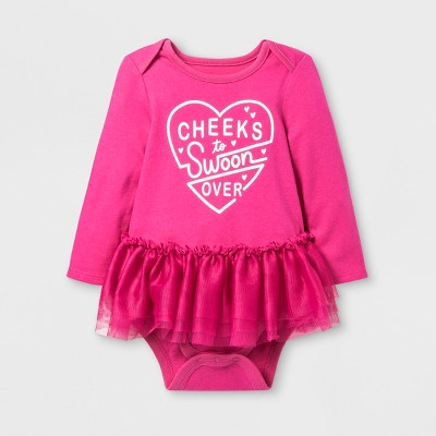 Baby Girls' Long Sleeve Cheeks to Swoon Over Lap Shoulder Bodysuit - Cat & Jack™ Pink Newborn