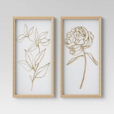 "(Set of 2)12"" x 24"" Floral Line Drawing Framed Under Glass - Opalhouse™"