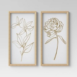 "(Set of 2) 12"" x 24"" Floral Line Drawing Framed Under Glass - Opalhouse™"