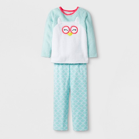 847a77a50c50 Girls  2pc Long Sleeve Owl Cozy Pajama Set - Cat   Jack™ Aqua   Target