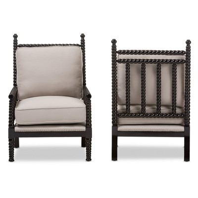 Merveilleux Set Of 2 Hillary Modern And Contemporary Fabric Upholstered And Finished  Wood Spindle   Back Accent Chair   Beige, Black   Baxton Studio