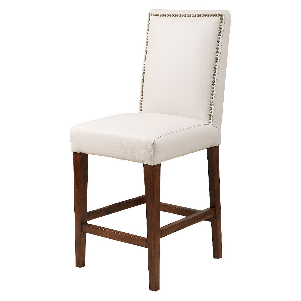 Monica Pedersen Alma Leather 30 Barstool Hardwood/Gray - Abbyson Living