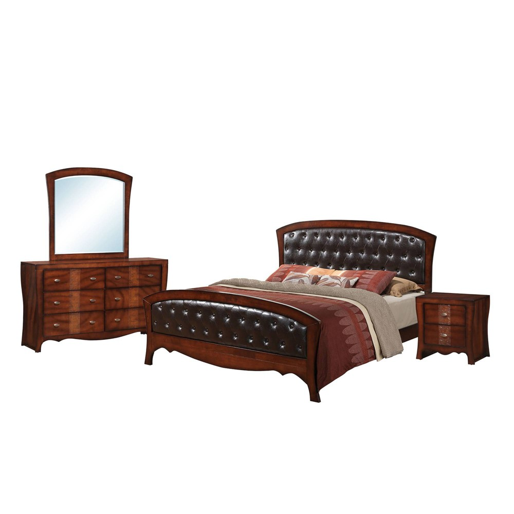 4pc Queen Jansen Panel Bedroom Set Espresso Brown - Picket House Furnishings