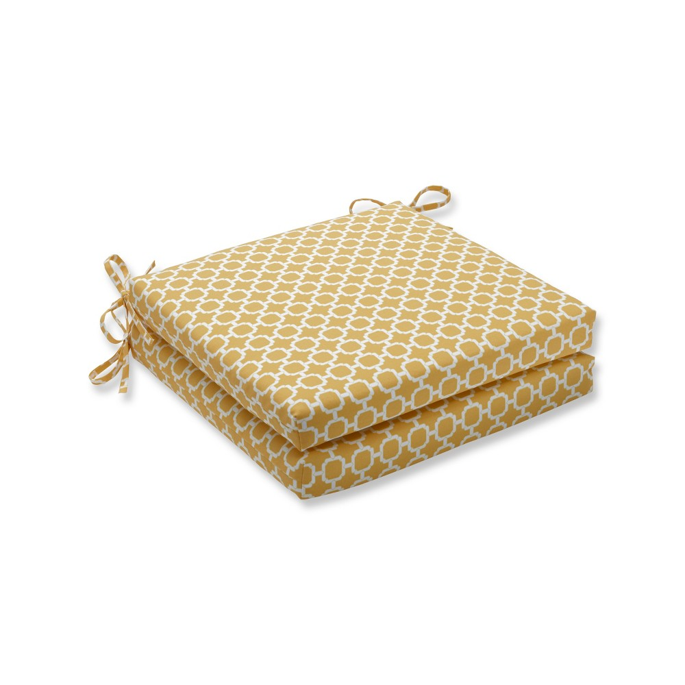 Hockley Banana 2pc Indoor/Outdoor Squared Corners Seat Cushion - Pillow Perfect, Yellow