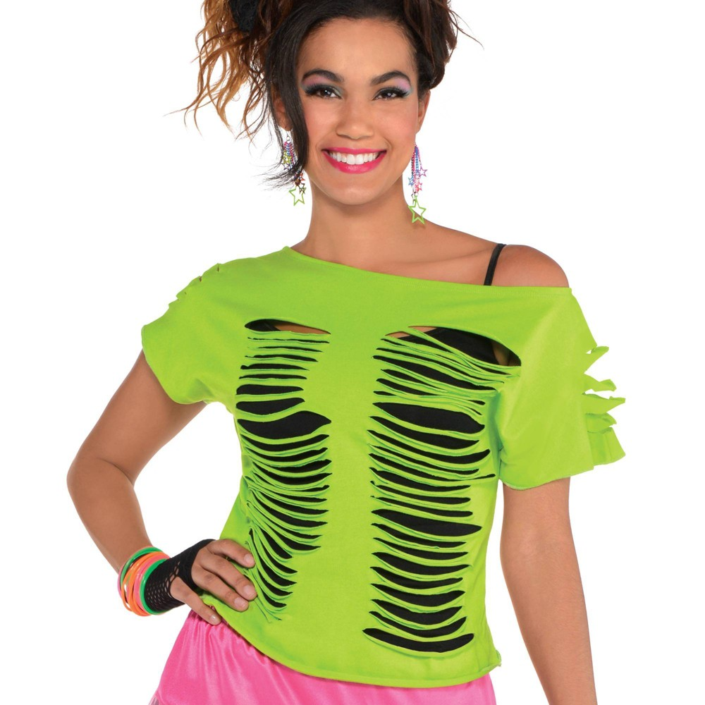1980s Clothing, Fashion | 80s Style Clothes Halloween Adult Ripped T-Shirt Halloween Costume SM Size Small Green $12.99 AT vintagedancer.com