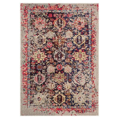 4'X5'7  Holly Burst Area Rug Gray/Red - Safavieh